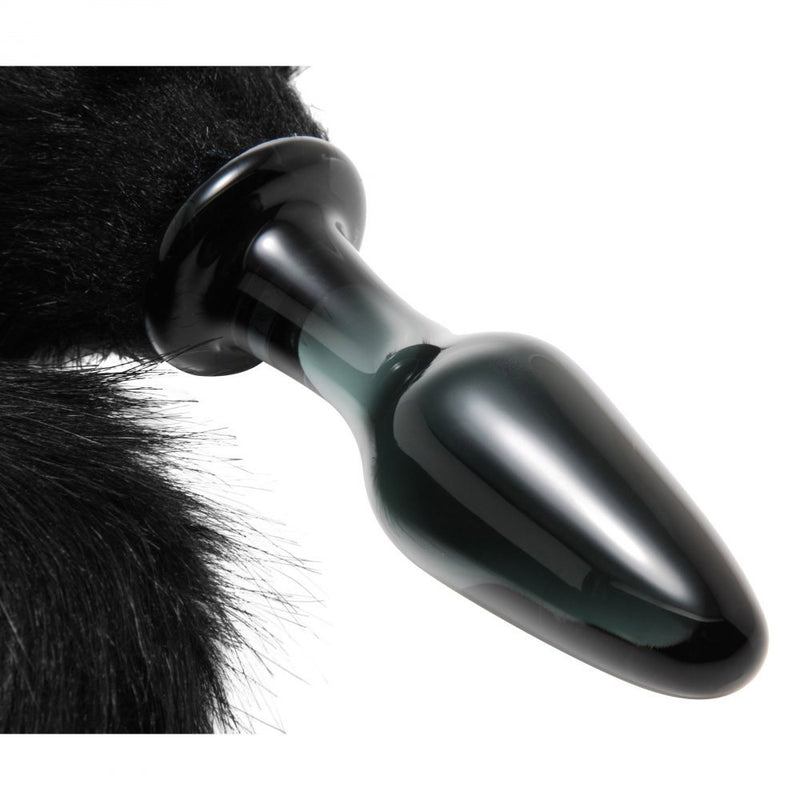 Midnight Fox Glass Butt Plug With Tail By XR Brands