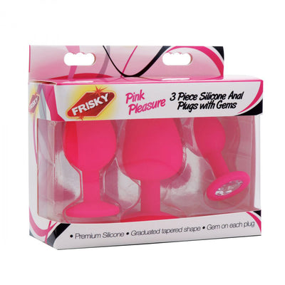 Pleasure 3 Piece Silicone Anal Plugs with Gems