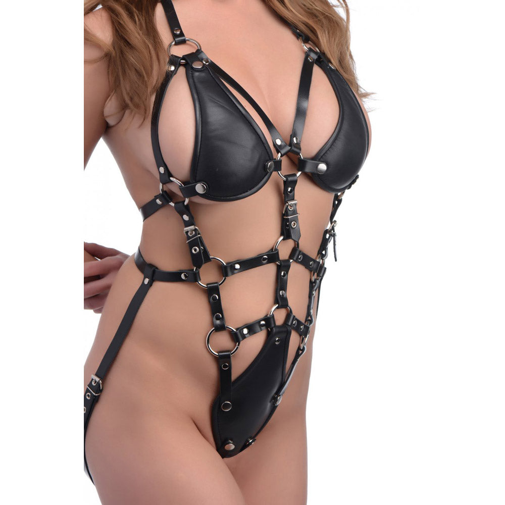 Leather Fetish Body Harness with Removable Bra
