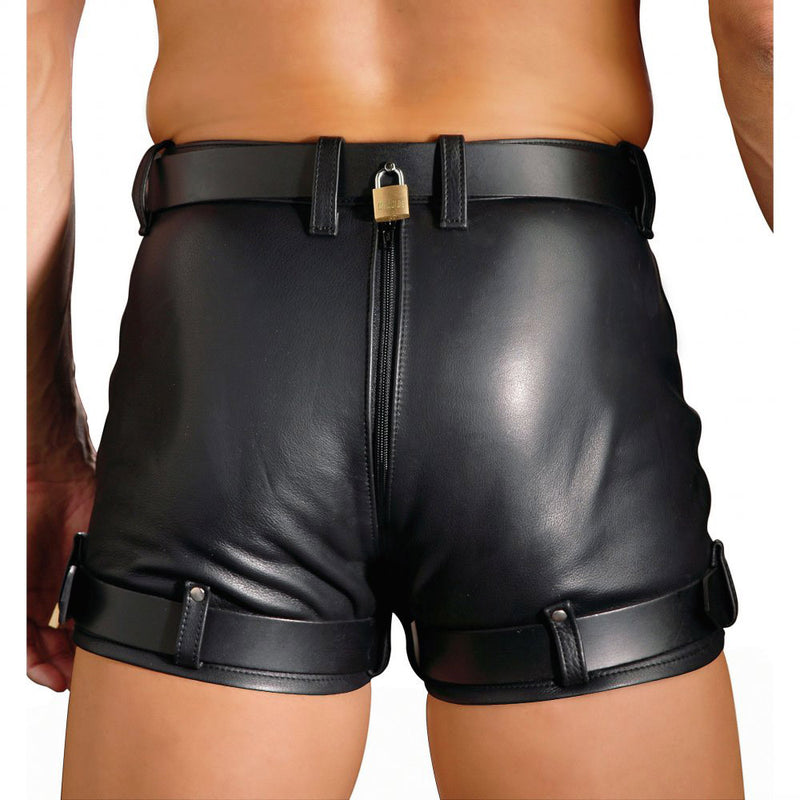 Leather Chastity BDSM Shorts