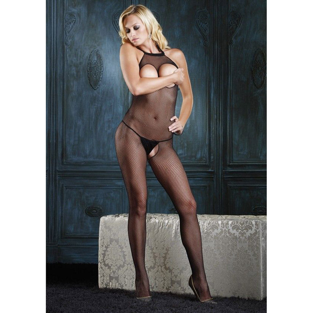Seamless Fishnet Halter Bodystocking with Open Bust