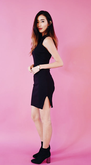 Ribbed Tie Back Midi (Black)