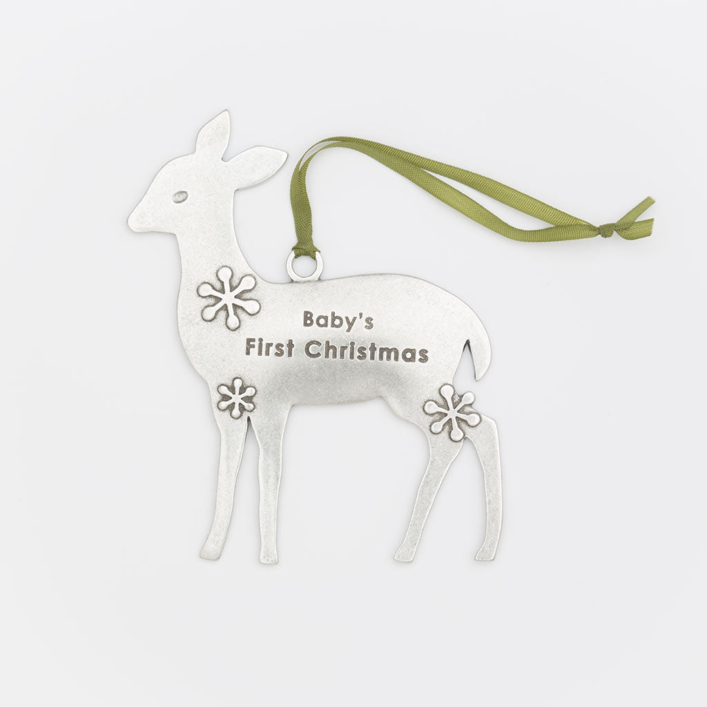 baby's first christmas pewter ornament heirloom