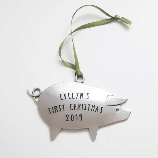 Personalized Baby's First Christmas Pig Ornament