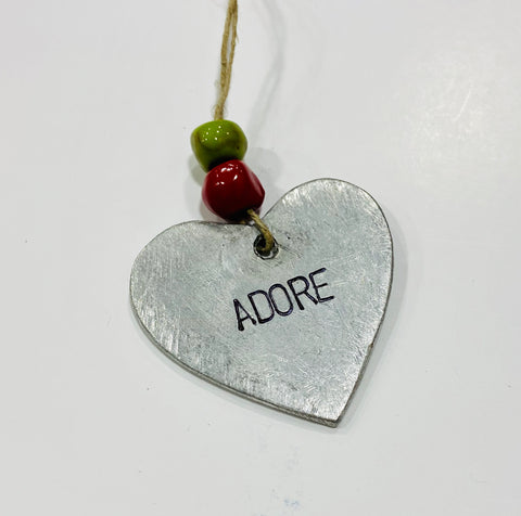 Metal Heart Ornament - Adore