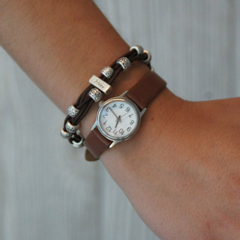 Braided leather hope bracelet on model