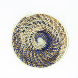 Blue/Natural Spiral Grass-woven Basket