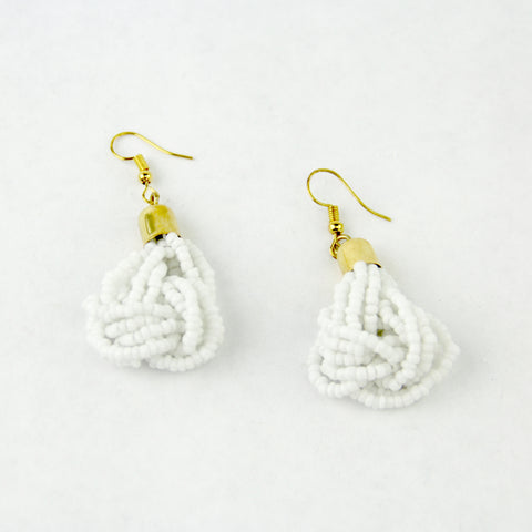 White Beaded Knot Earrings