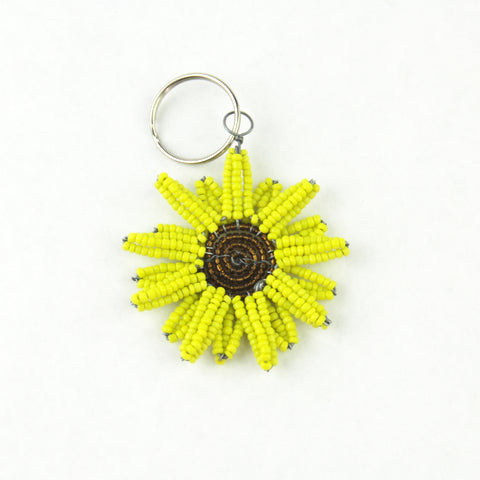 Beaded Sunflower Keychain