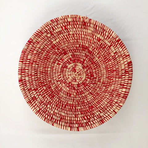 Red & White Grass-woven Basket