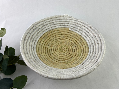 Natural and White Grass-woven Basket