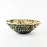Green/Natural Spiral Grass-woven Basket