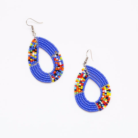 Beaded teardrop earrings made by artisans in Kenya