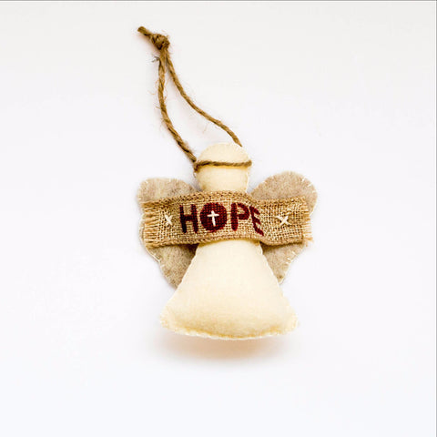 Handsewn Hope Angel Ornament
