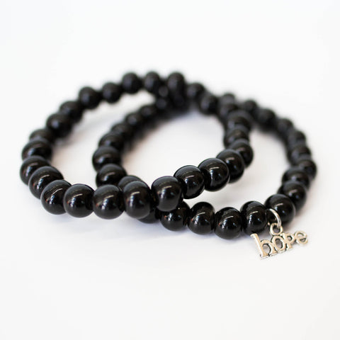 Black clay bead bracelet