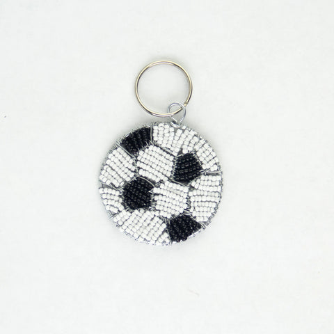 Beaded Soccer Ball Keychain