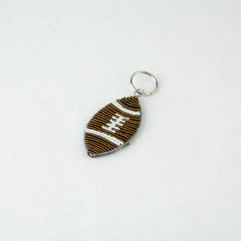 Beaded Football Keychain