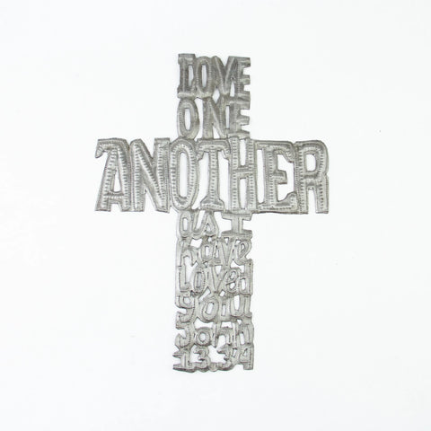 Love One Another Cross Metal Art