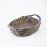 Sky Blue Oval Pine Needle Basket