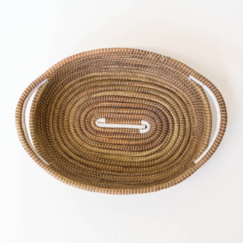 White Oval Pine Needle Basket