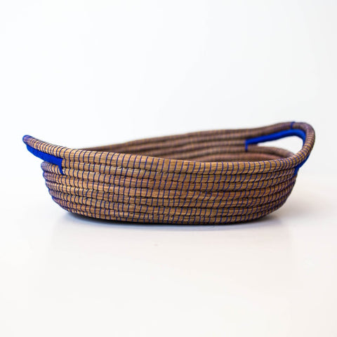 Blue Oval Pine Needle Basket