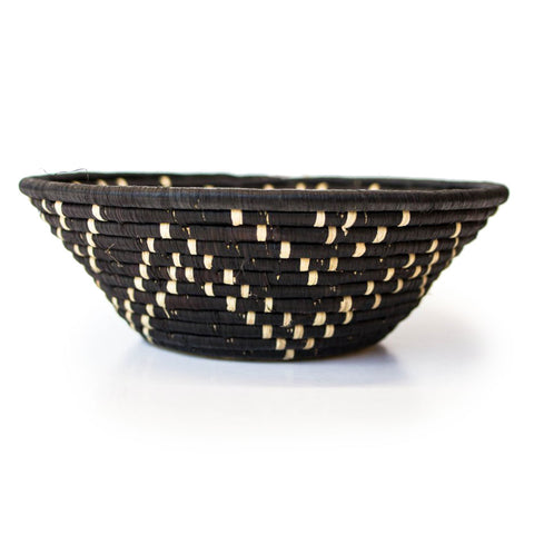 Black & Natural Grass-woven Basket - Star Pattern