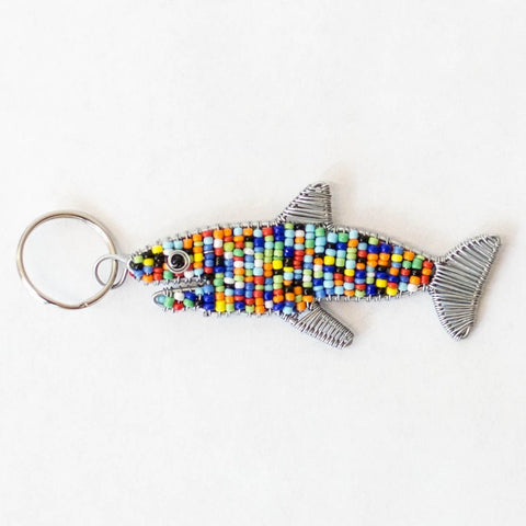 Beaded Shark Keychain