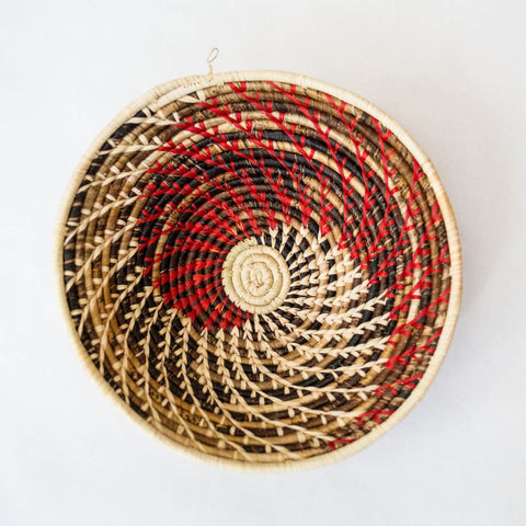 Red/Natural Spiral Grass-woven Basket