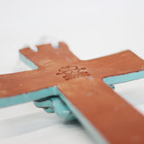 Back side of 8 inch teal clay cross from Papillon in Haiti