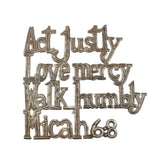 Micah 6:8 Act Justly Metal Art made by artisans in Haiti