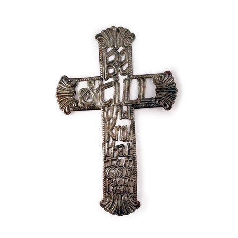 Be Still Metal Cross