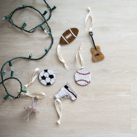 Beaded Football Ornament