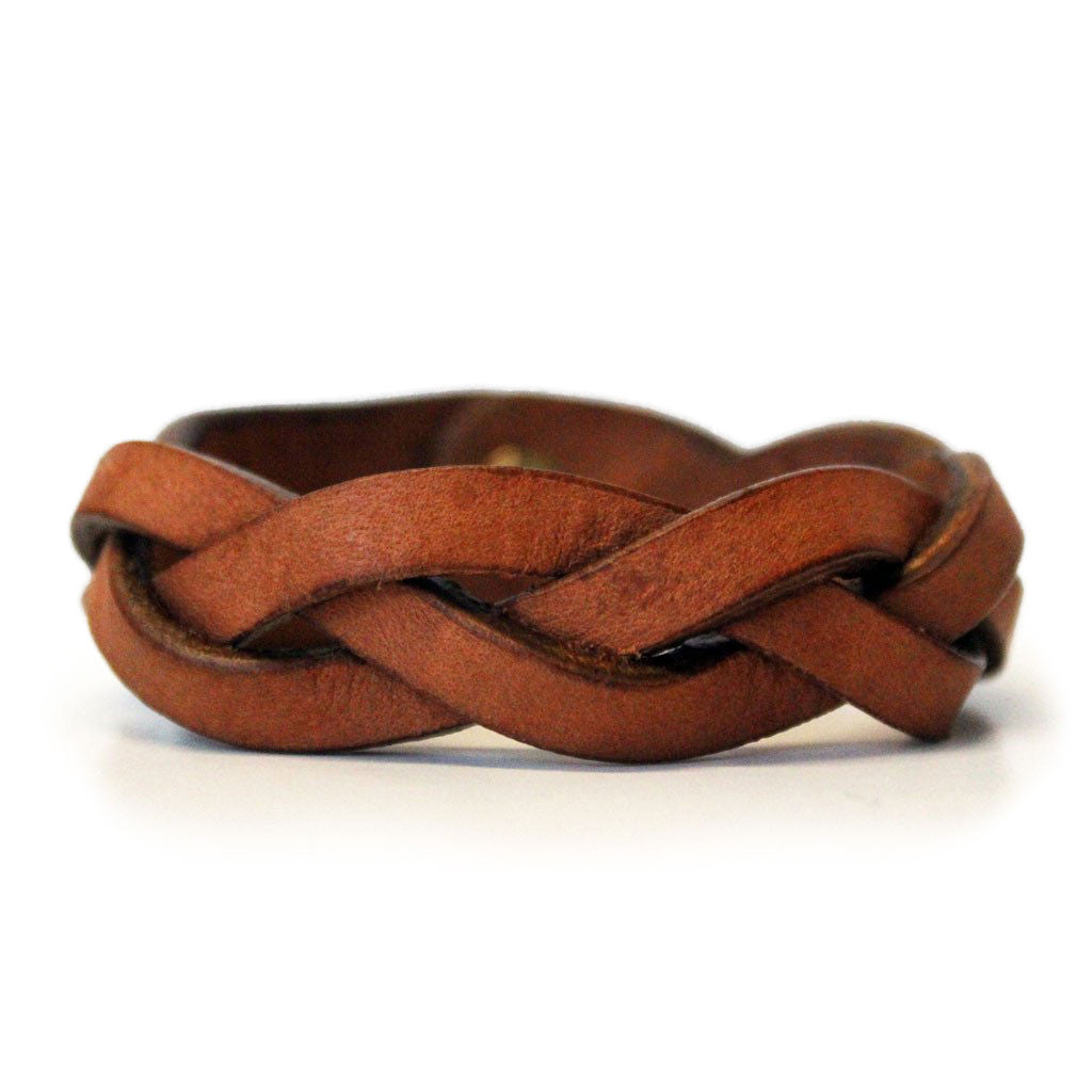 Tan Braided Leather Bracelet