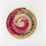 Raspberry/Natural Spiral Grass-woven Basket