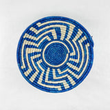 Blue Geometric Grass-woven Basket