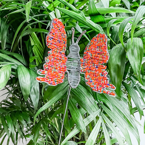 Beaded Butterfly Plant Stake