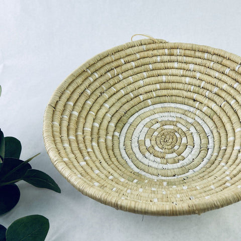 Natural with White Pattern Grass-woven Basket