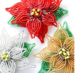 Beaded Poinsettia Ornament