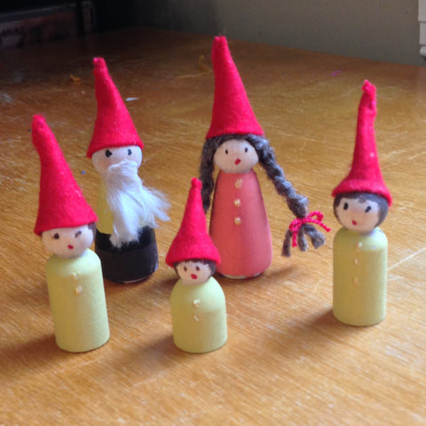 Peg doll gnome family