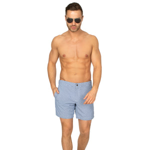 "Aruba 6.5"" Micro Diamonds Denim Blue Swim Trunks"