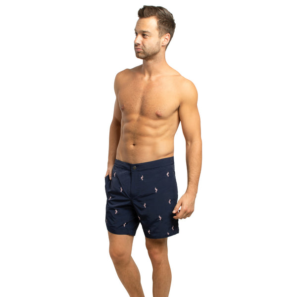 "Aruba 6.5"" Navy Embroidered Flamingos Swim Trunks"
