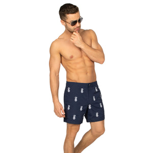 "Aruba 6.5"" Navy Embroidered Pineapples Swim Trunks"
