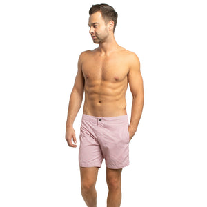 "Aruba 6.5"" Striped Terracotta Red Swim Trunks"