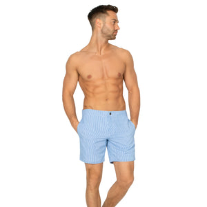 "Aruba 6.5"" Striped Nautical Blue Swim Trunks"