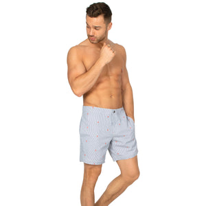 "Aruba 6.5"" Striped Grey Emb Palms Swim Trunks"