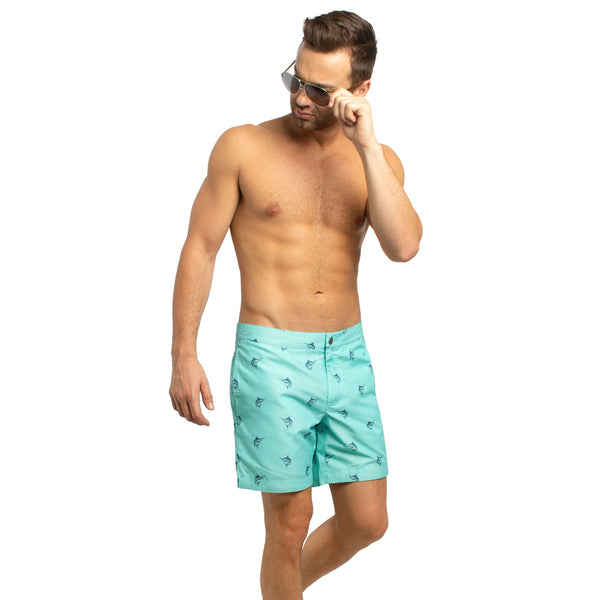 "Aruba 6.5"" Turquoise Marlins Swim Trunks"