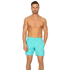 "Aruba 6.5"" Turquoise Emb. Palm Trees Swim Trunks"