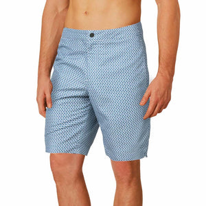 denim blue fish print swim trunks