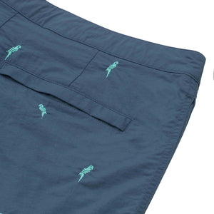 blue embroidered macaws swim suit boto