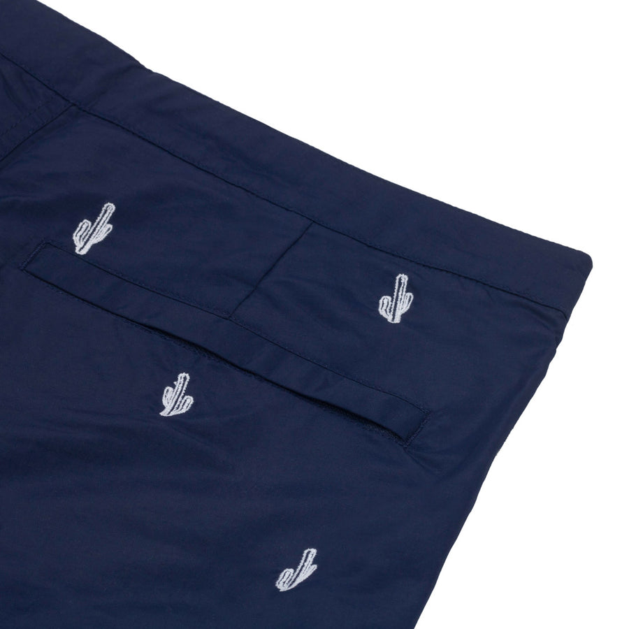 "Aruba 6.5"" Navy Embroidered Cactus Swim Trunks"